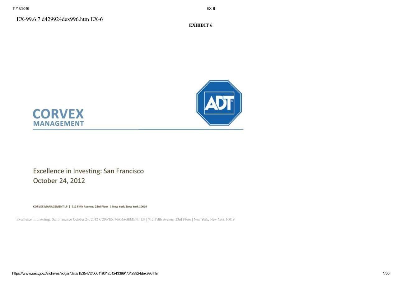 Corvex Management ADT Presentation (Oct-2012)