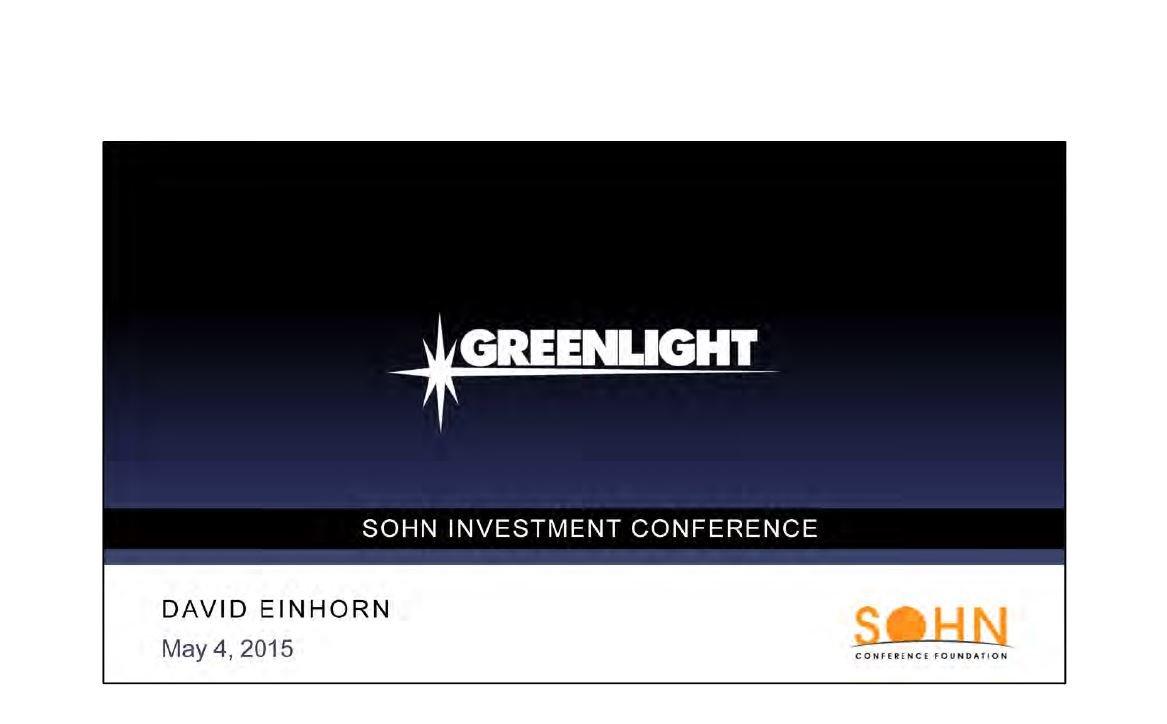Greenlight Capital Pioneer Presentation