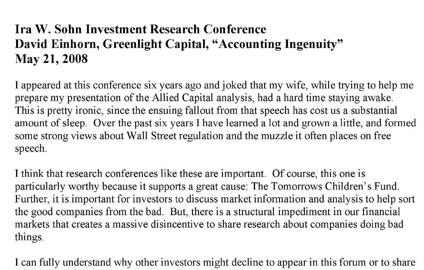Greenlight Sohn Conference Speech Transcript (May-2008)