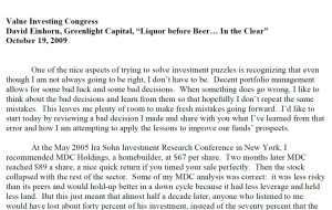 Greenlight Value Investing Congress Speech Transcript (Oct-2009)