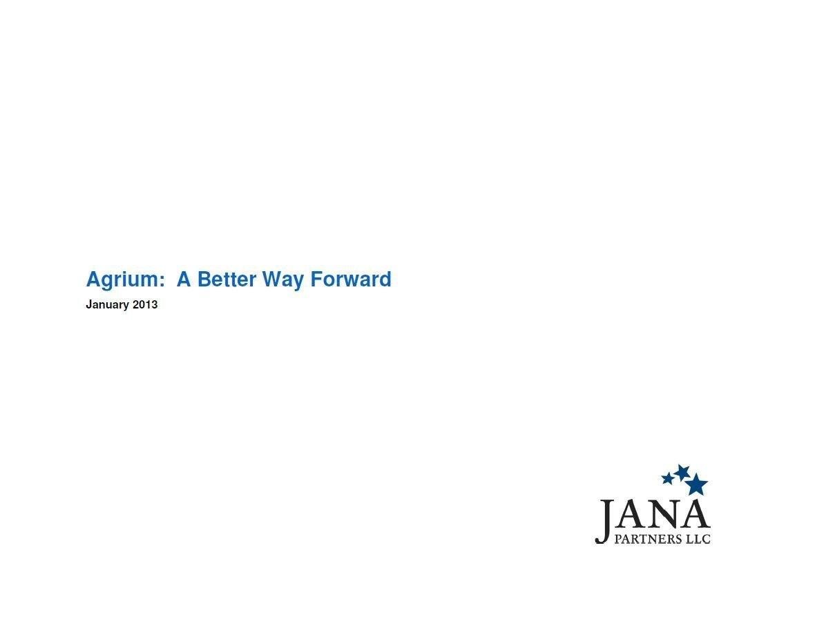 JANA Partners Agrium Presentation (Jan-2013)