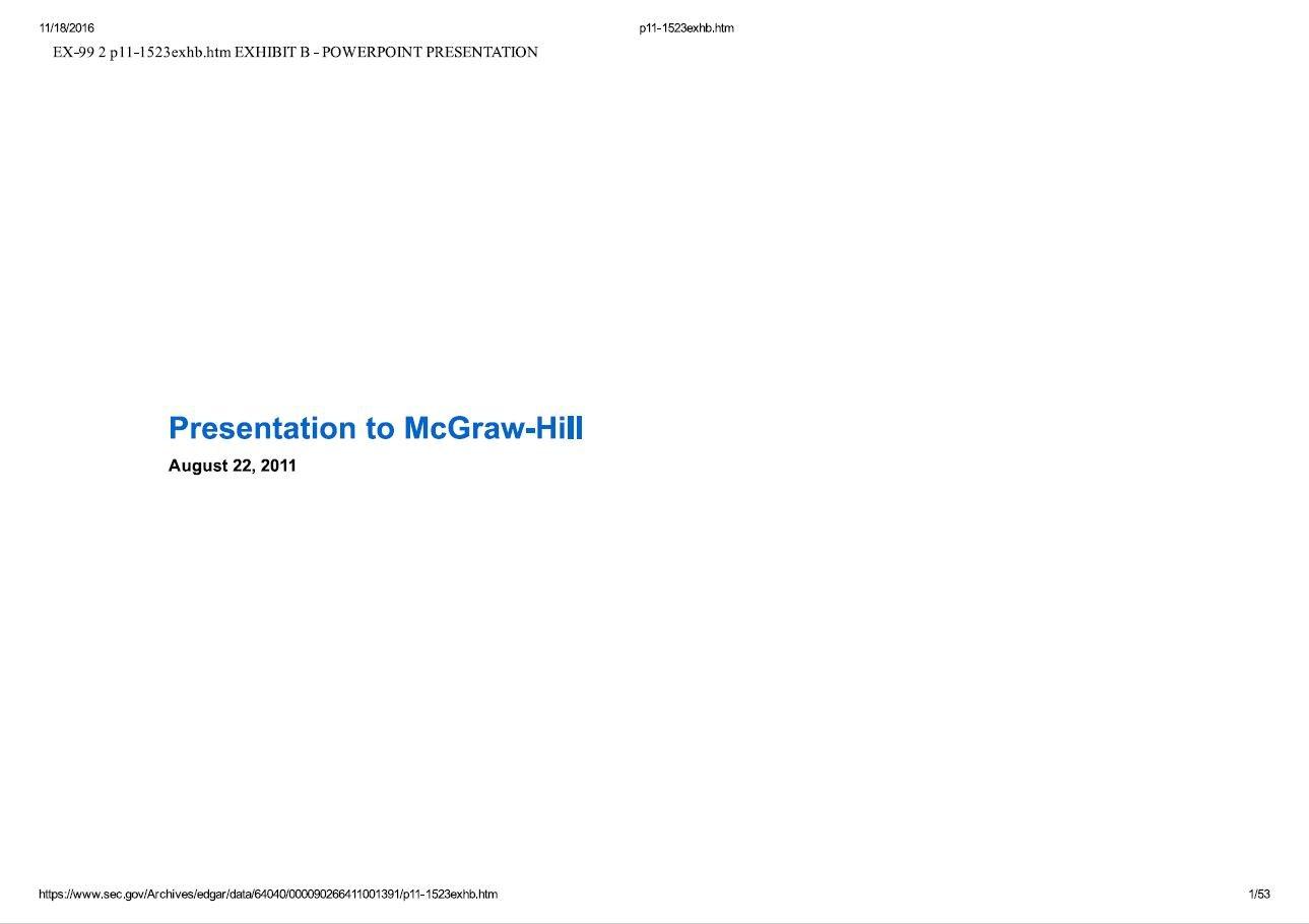 JANA Partners McGraw-Hill Presentation (Aug-2011)