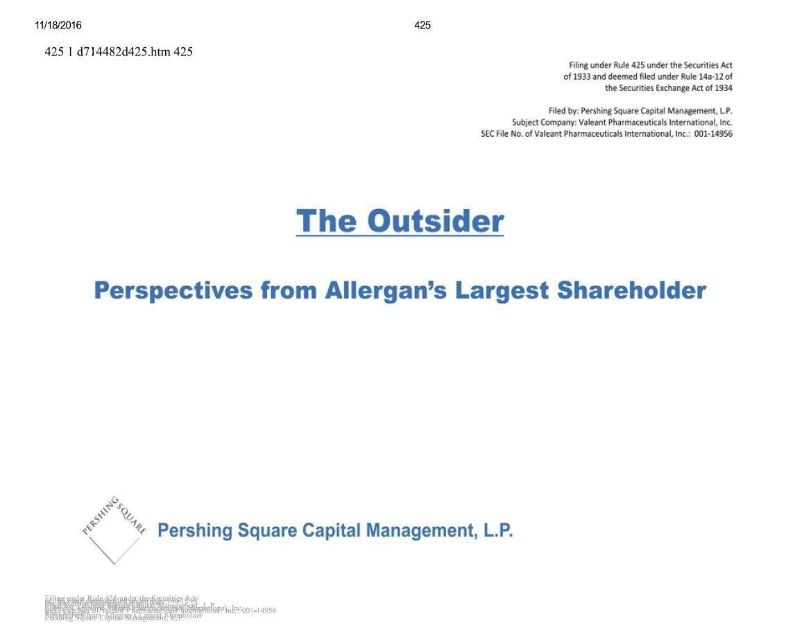 Pershing Square Allergan & Valeant Presentation (Apr-2014)