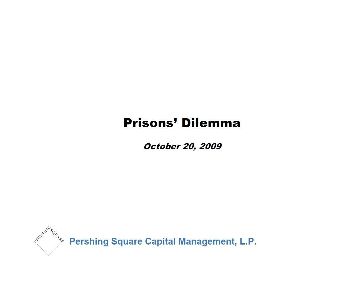 Pershing Square Corrections Corp Presentation (Oct-2009)