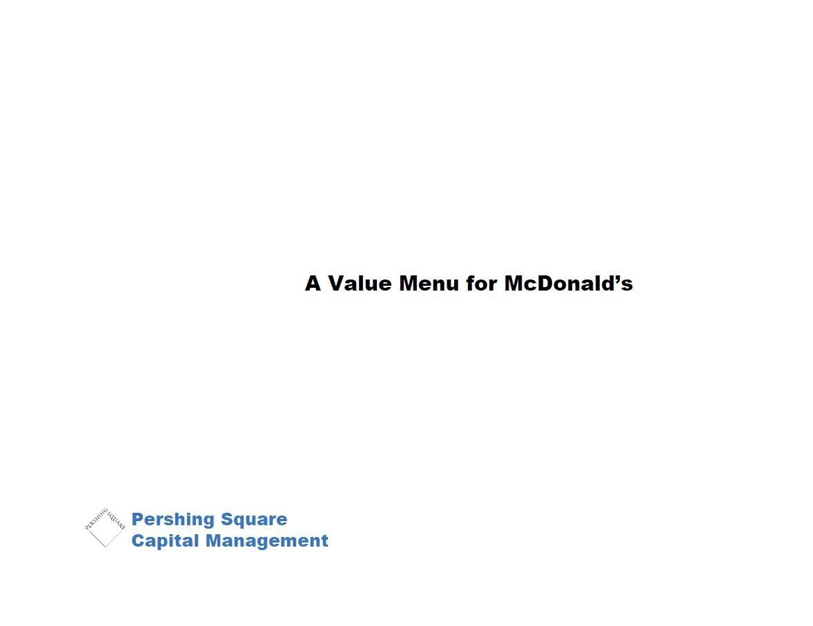 Pershing Square McDonald's First Presentation (Nov-2005)