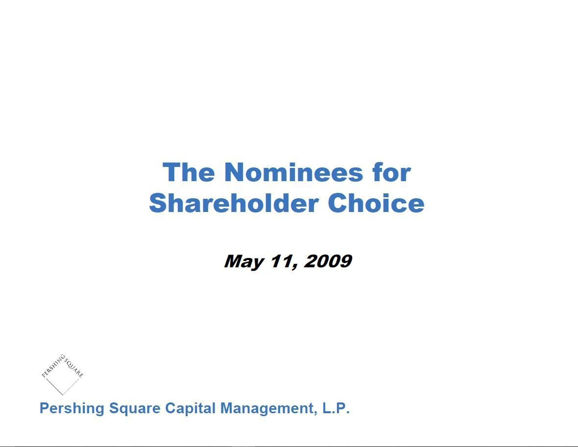 Pershing Square Target Board Nominees Presentation (May-2009)