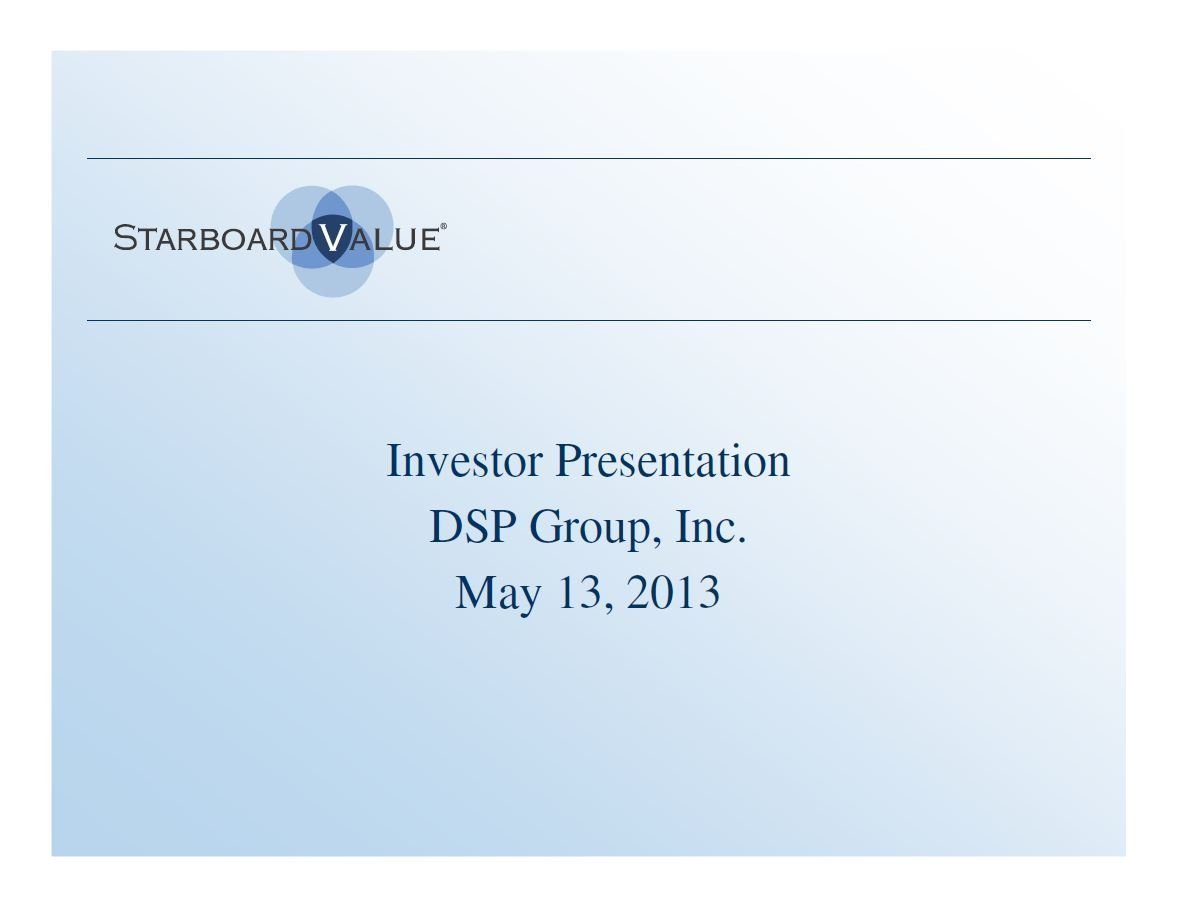 Starboard DSP Group Presentation (May-2013)