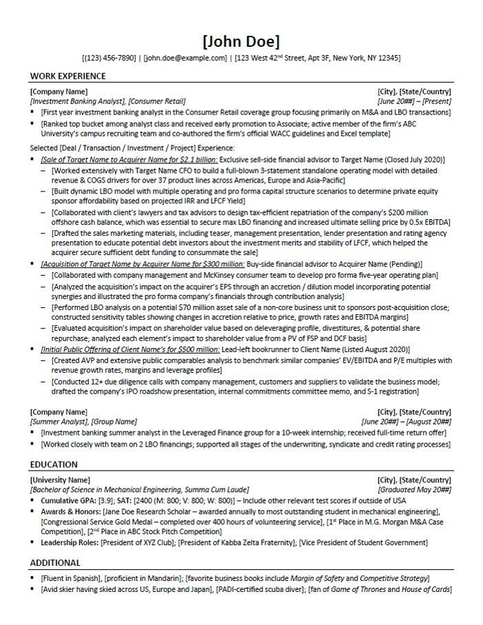 Private Equity Resume Template and Example | 10X EBITDA